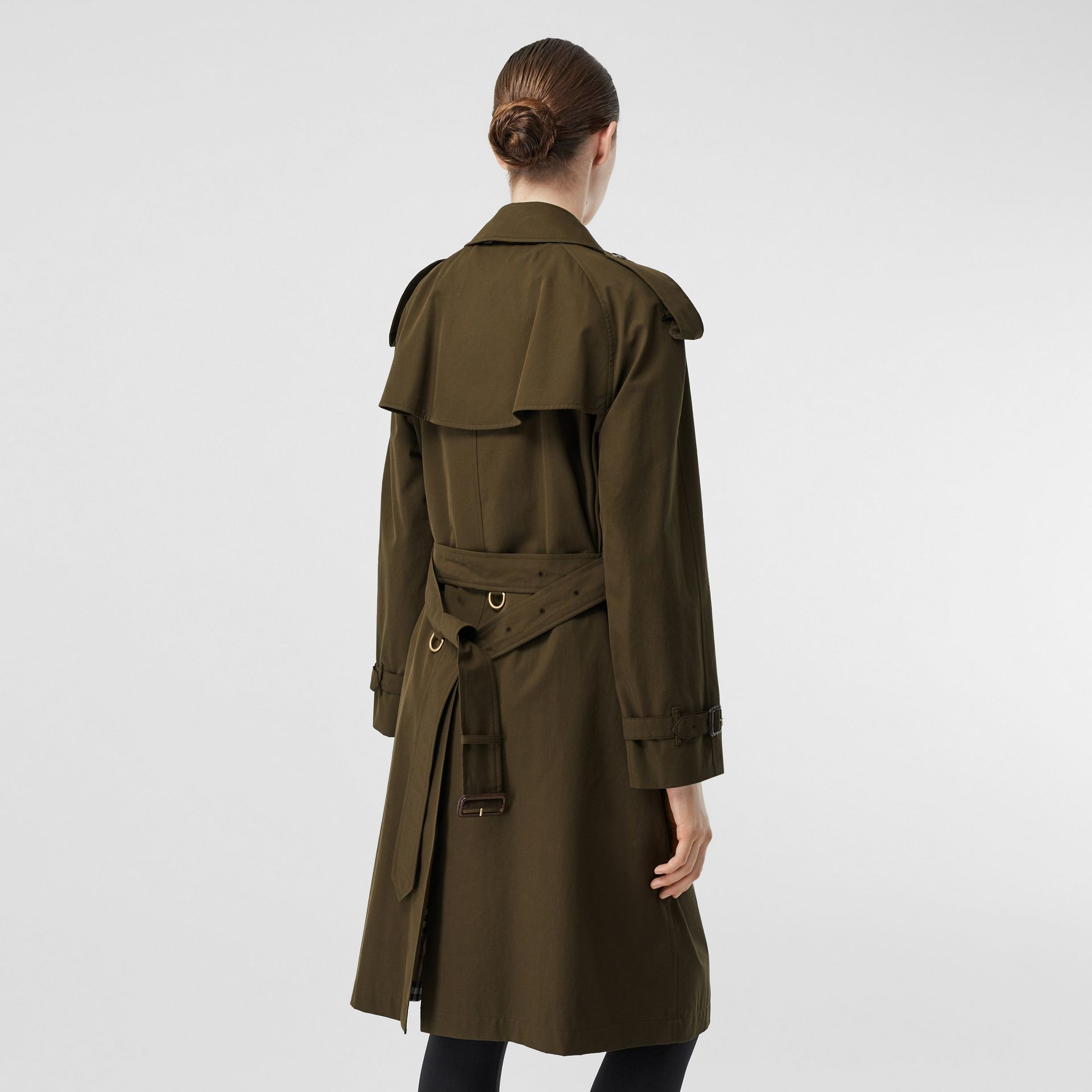 Tropical Gabardine Mid-length Trench Coat in Dark Military Khaki - Women | Burberry - gallery image 6