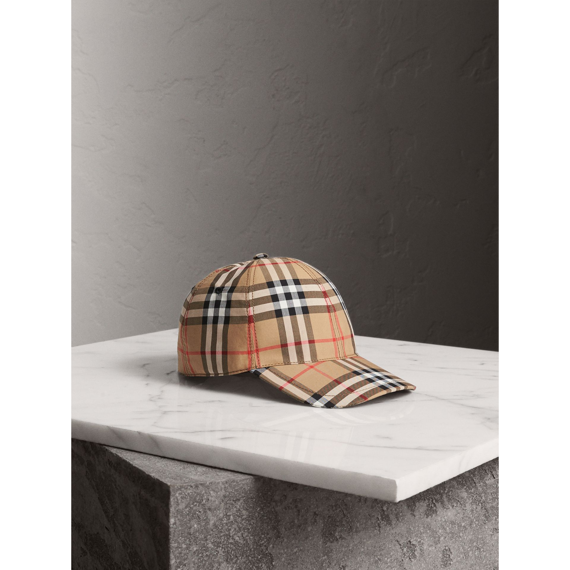 Vintage Check Baseball Cap in Antique Yellow | Burberry - gallery image 0