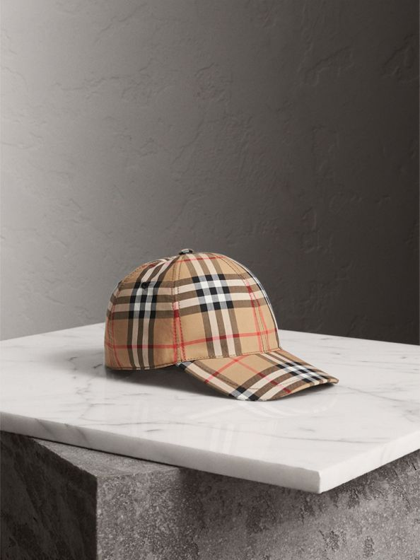 Vintage Check Baseball Cap in Antique Yellow
