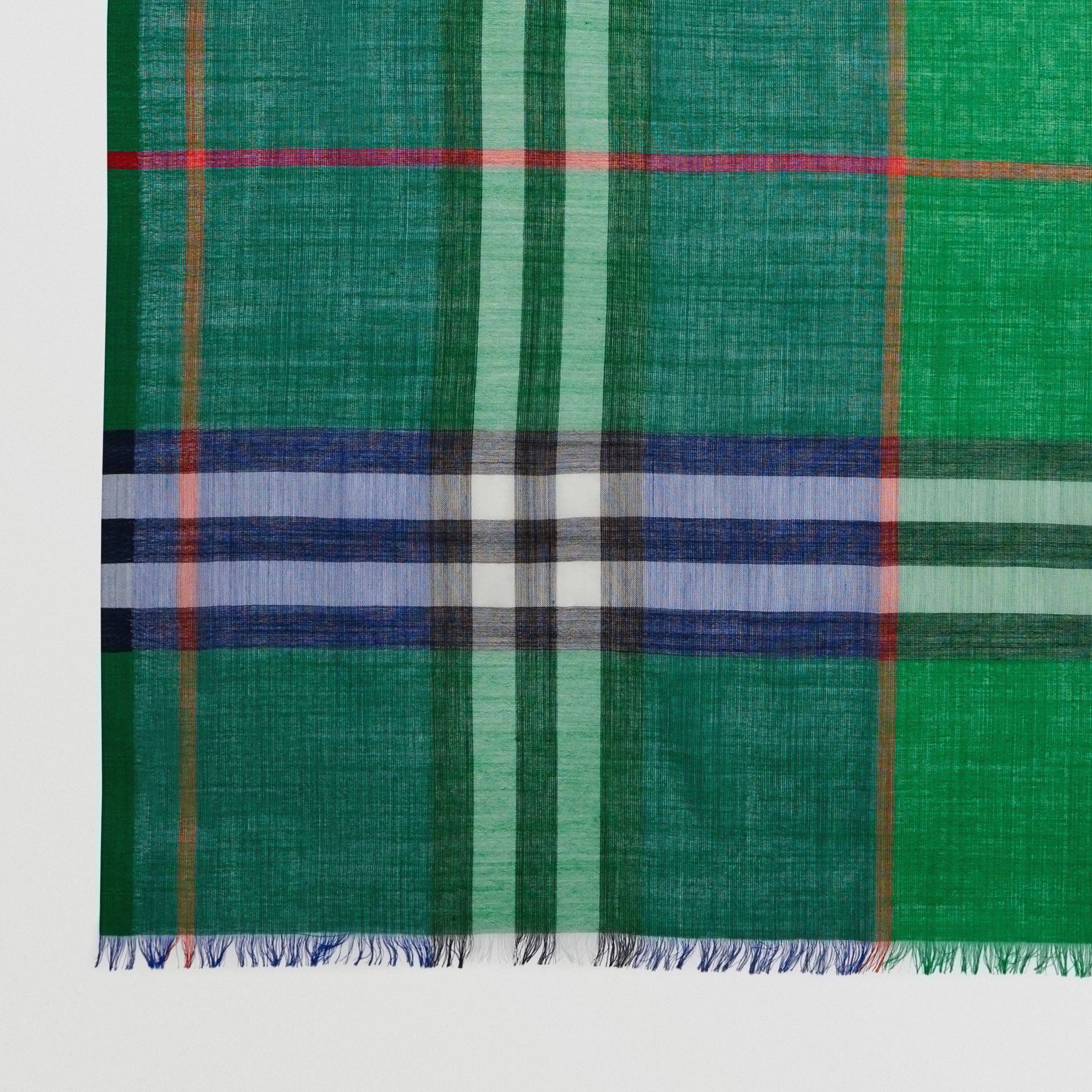 Colour Block Check Wool Silk Scarf in Teal | Burberry - gallery image 1