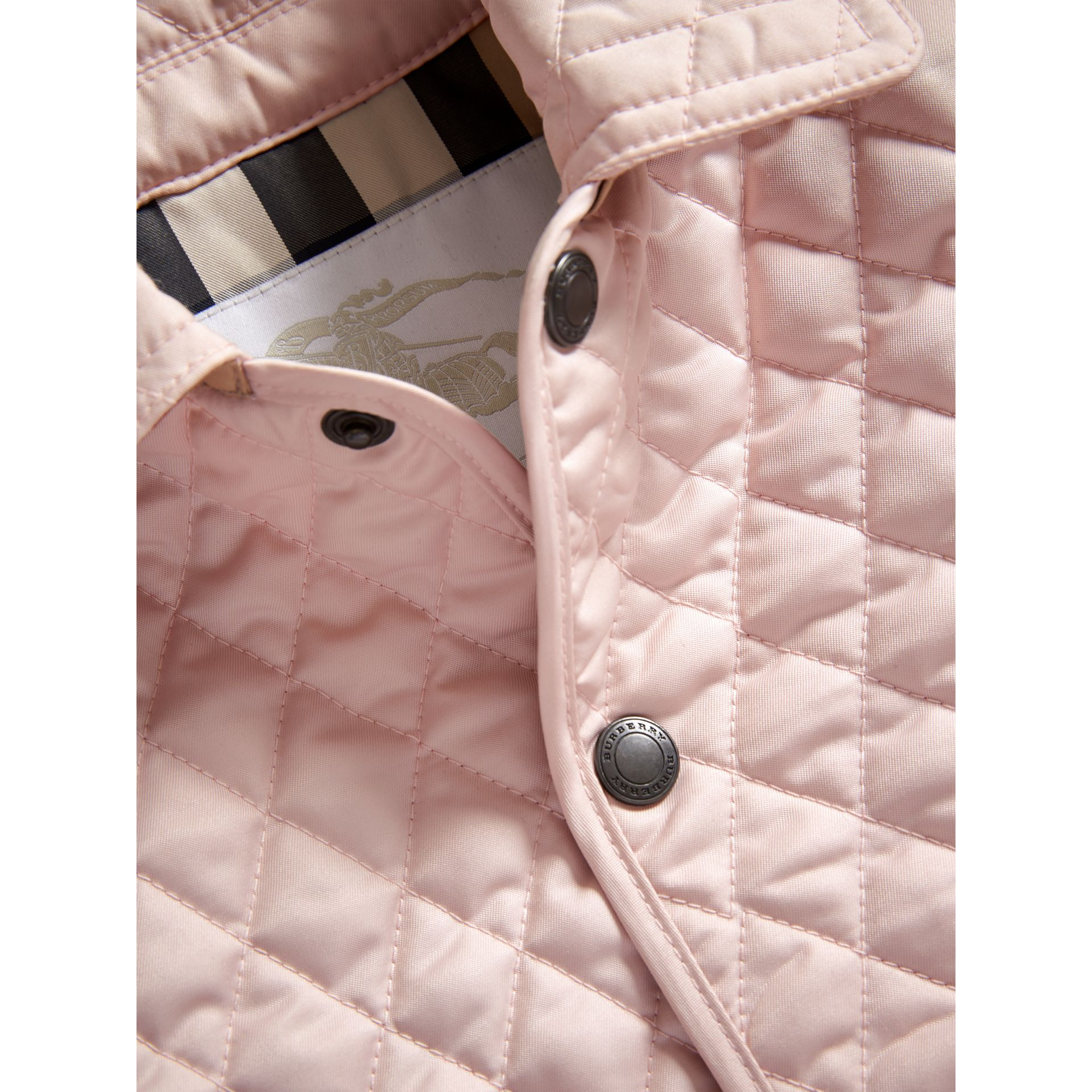 Check Detail Diamond Quilted Jacket in Powder Pink | Burberry - gallery image 1