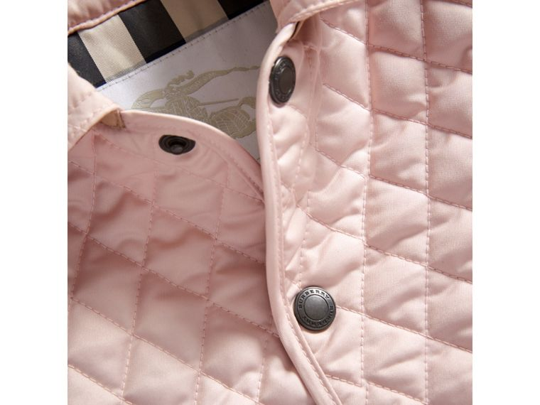 Check Detail Diamond Quilted Jacket in Powder Pink | Burberry United Kingdom - cell image 1