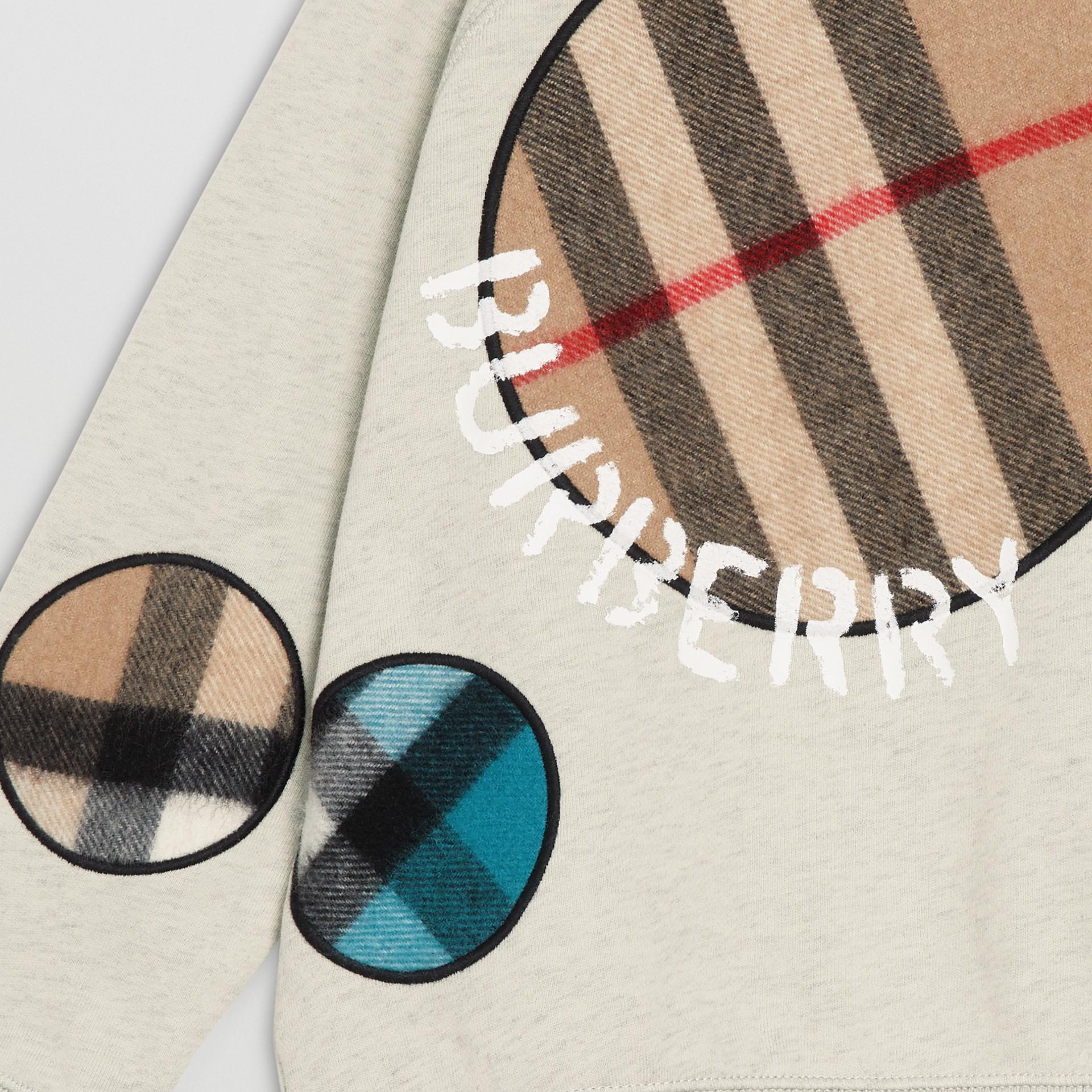 Check Appliqué Cotton Sweatshirt in Multicolour | Burberry - gallery image 4