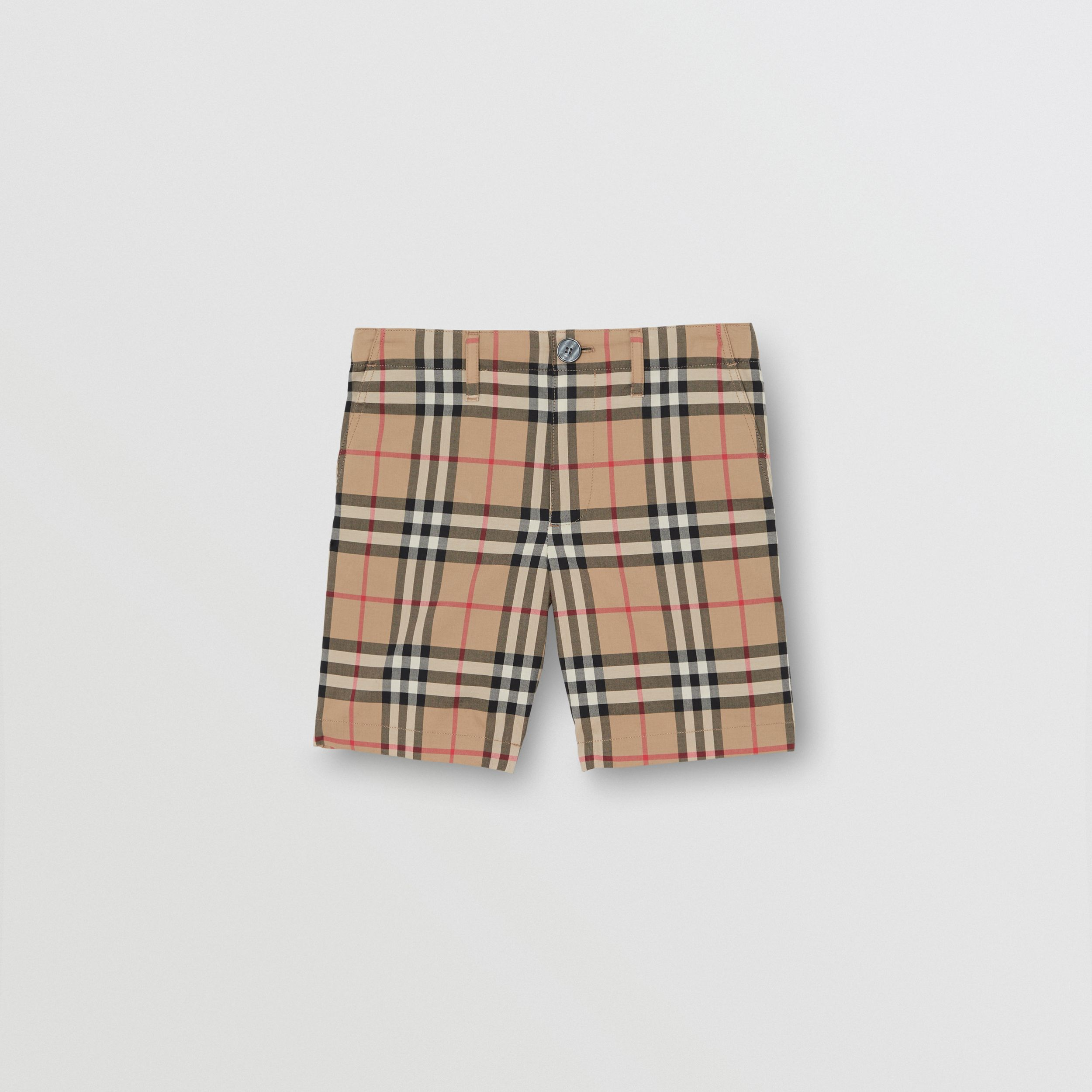 Vintage Check Cotton Tailored Shorts in Archive Beige | Burberry - 1