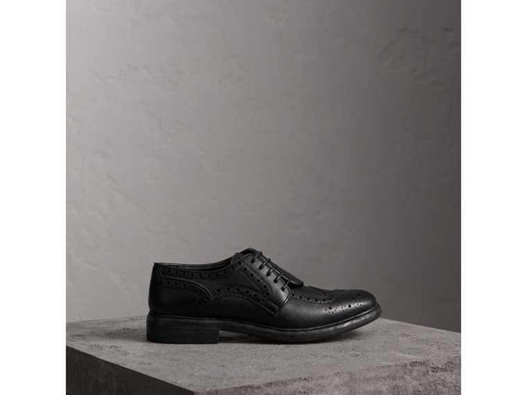 Lace-up Brogue Detail Textured Leather Asymmetric Shoes in Black - Women | Burberry United Kingdom - cell image 4