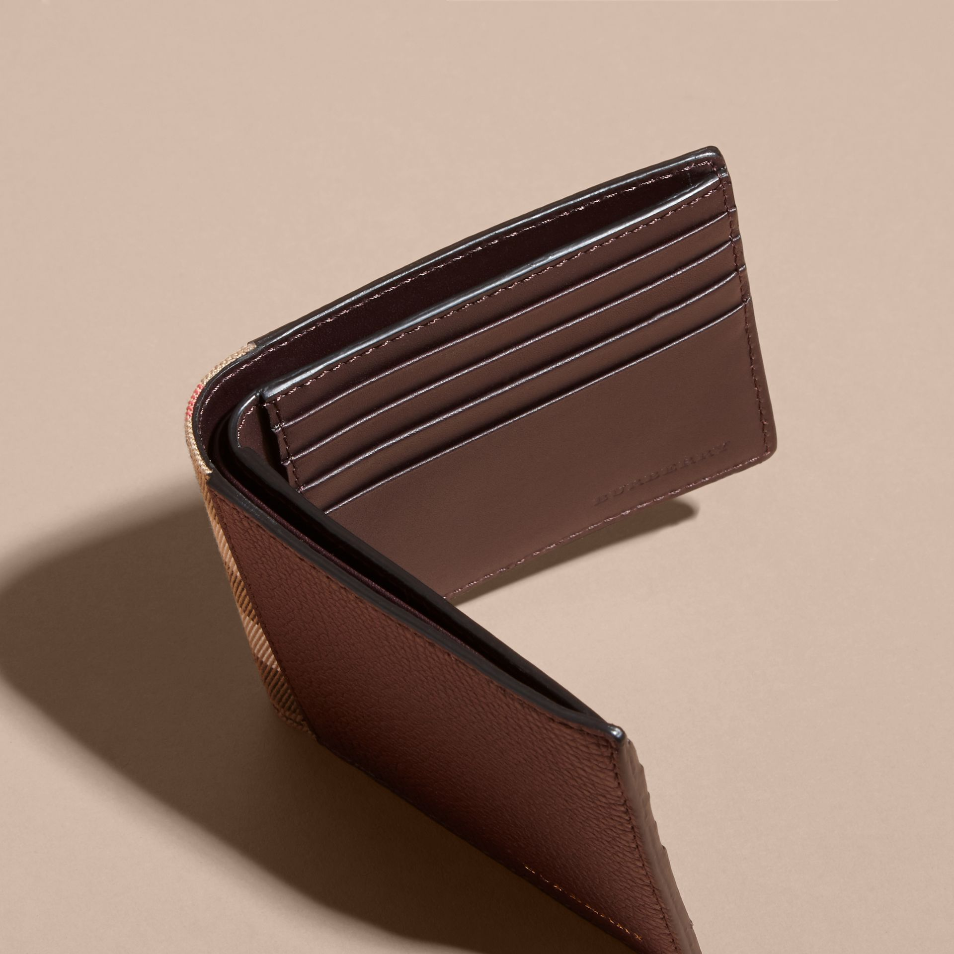 Leather and House Check International Bifold Wallet in Wine | Burberry - gallery image 5