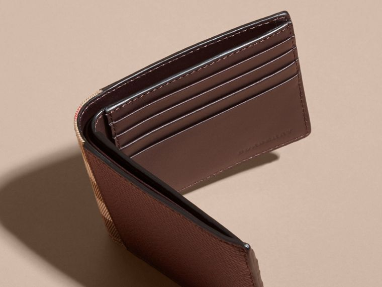 Leather and House Check International Bifold Wallet in Wine | Burberry - cell image 4