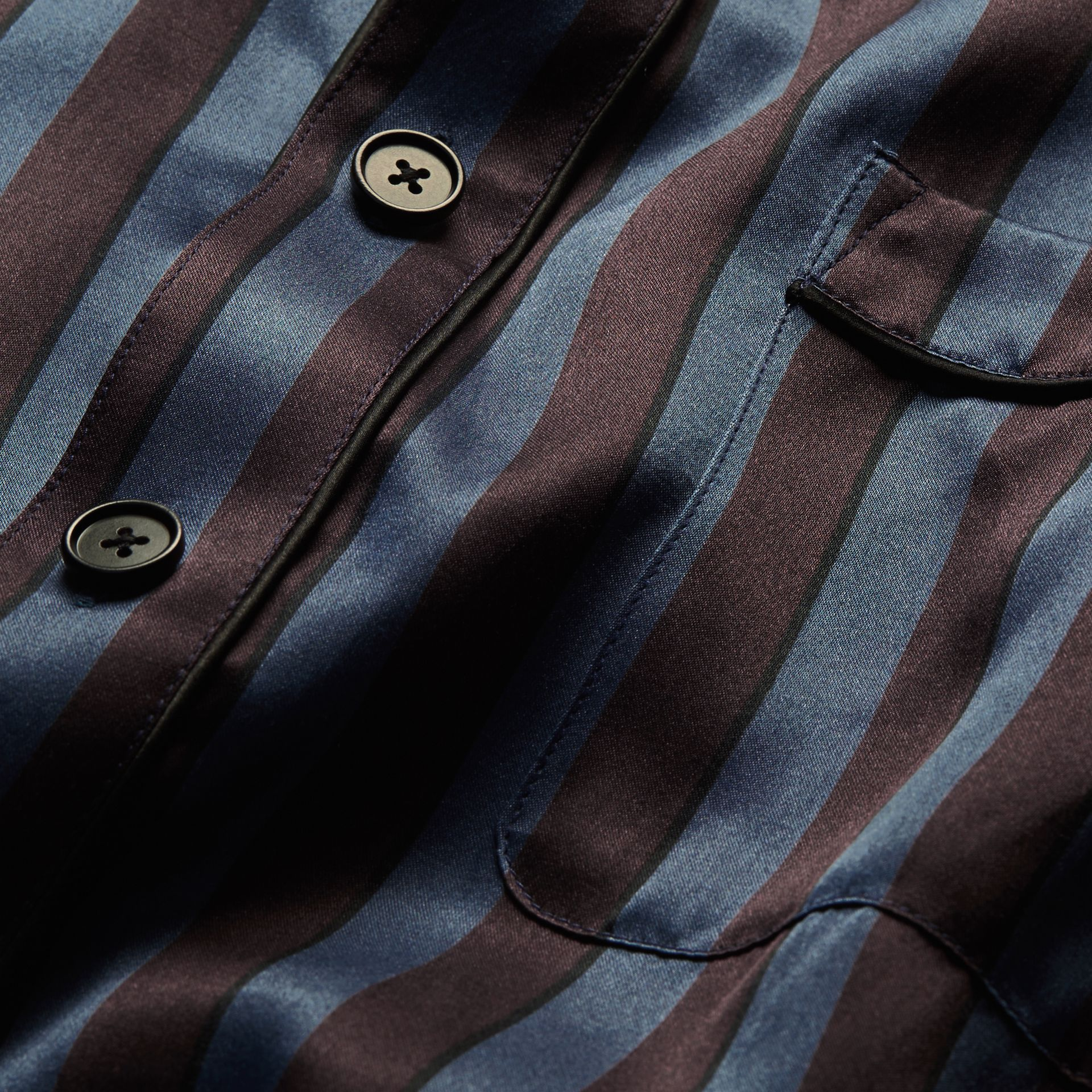 Navy Pyjama Stripe Silk Cotton Collarless Shirt - gallery image 2