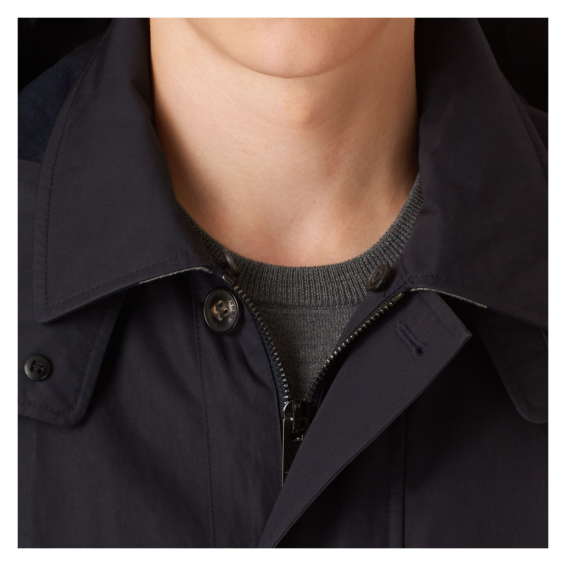 Navy Showerproof Cotton Blend Jacket - gallery image 2