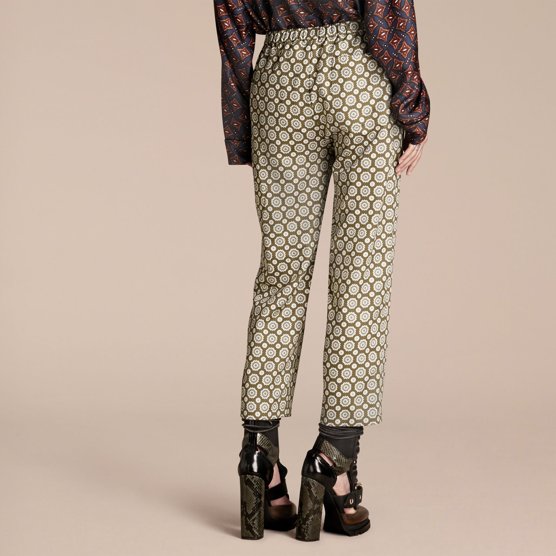 Pyjama Print Cropped Silk Cotton Pyjama-style Trousers in Yellow Olive - gallery image 3