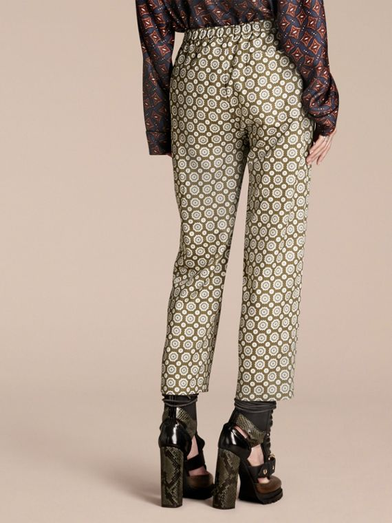 Pyjama Print Cropped Silk Cotton Pyjama-style Trousers in Yellow Olive - cell image 2