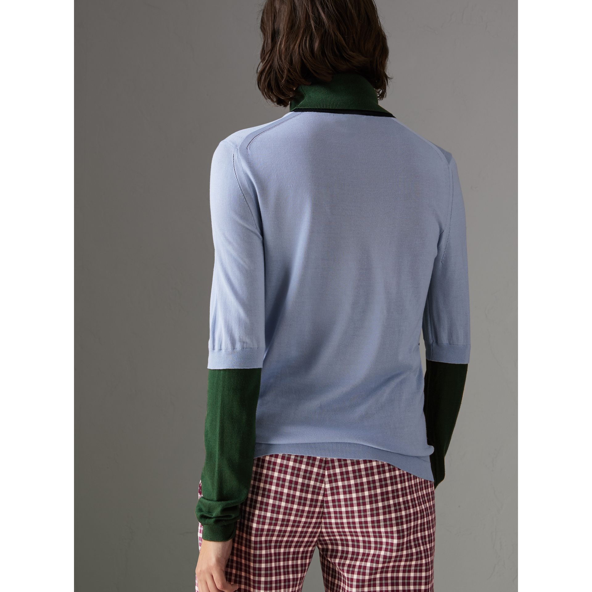 Colour Block Silk Cashmere Roll-neck Sweater in Sky Blue - Women | Burberry - gallery image 2