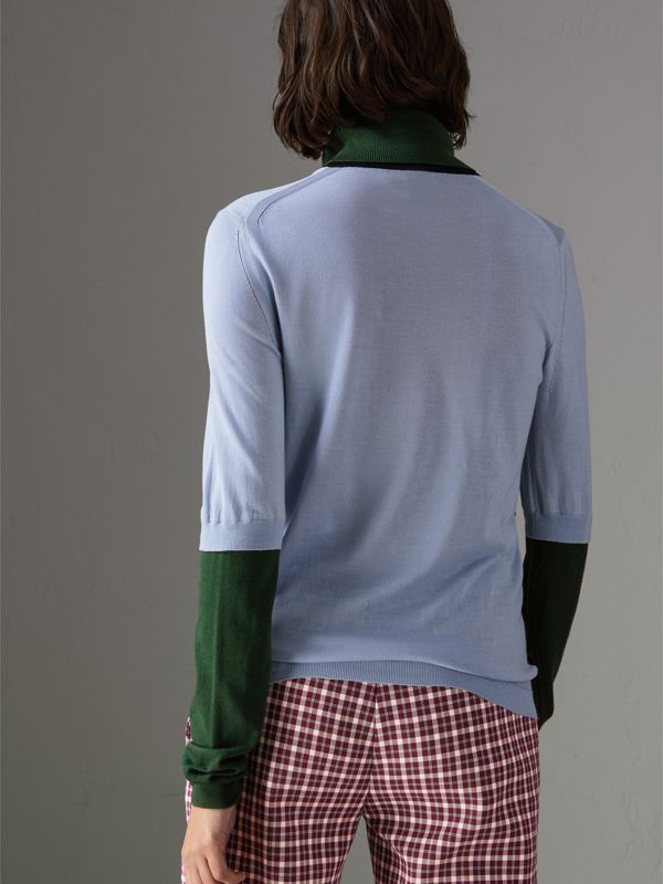 Colour Block Silk Cashmere Roll-neck Sweater in Sky Blue - Women | Burberry - cell image 2