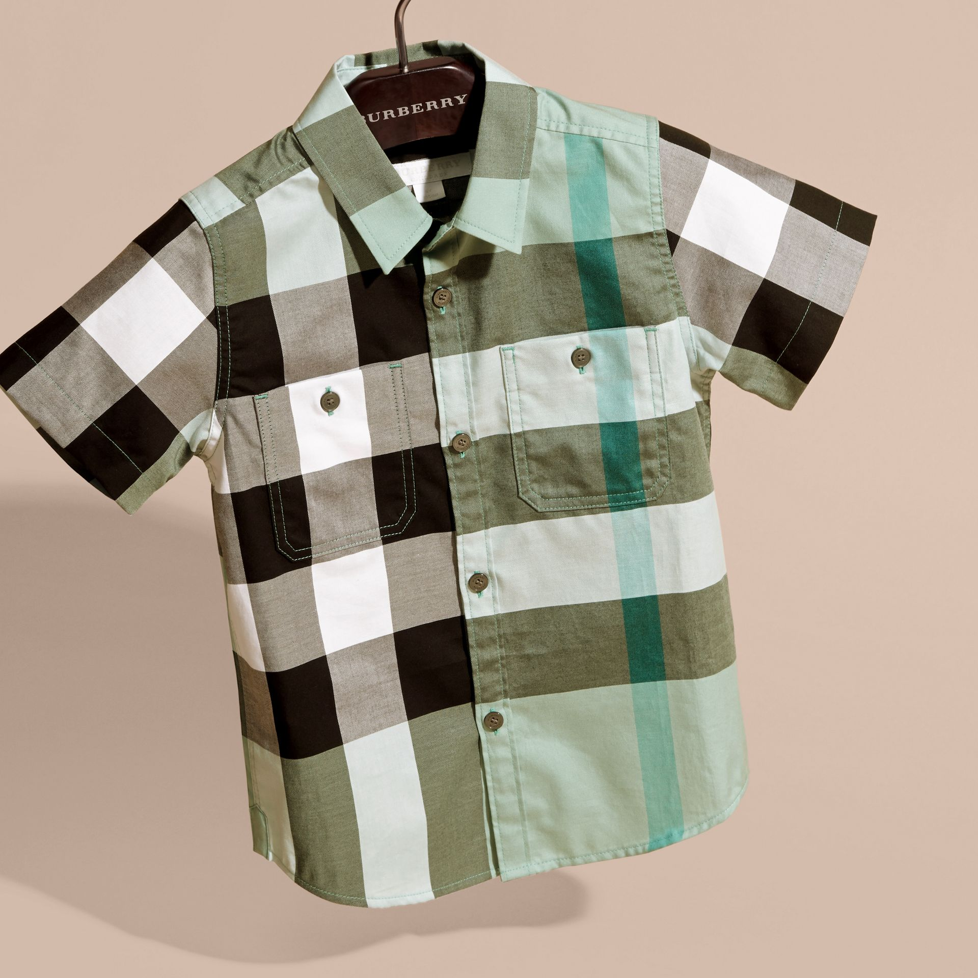 Short-sleeve Check Cotton Shirt in Eucalyptus - gallery image 3