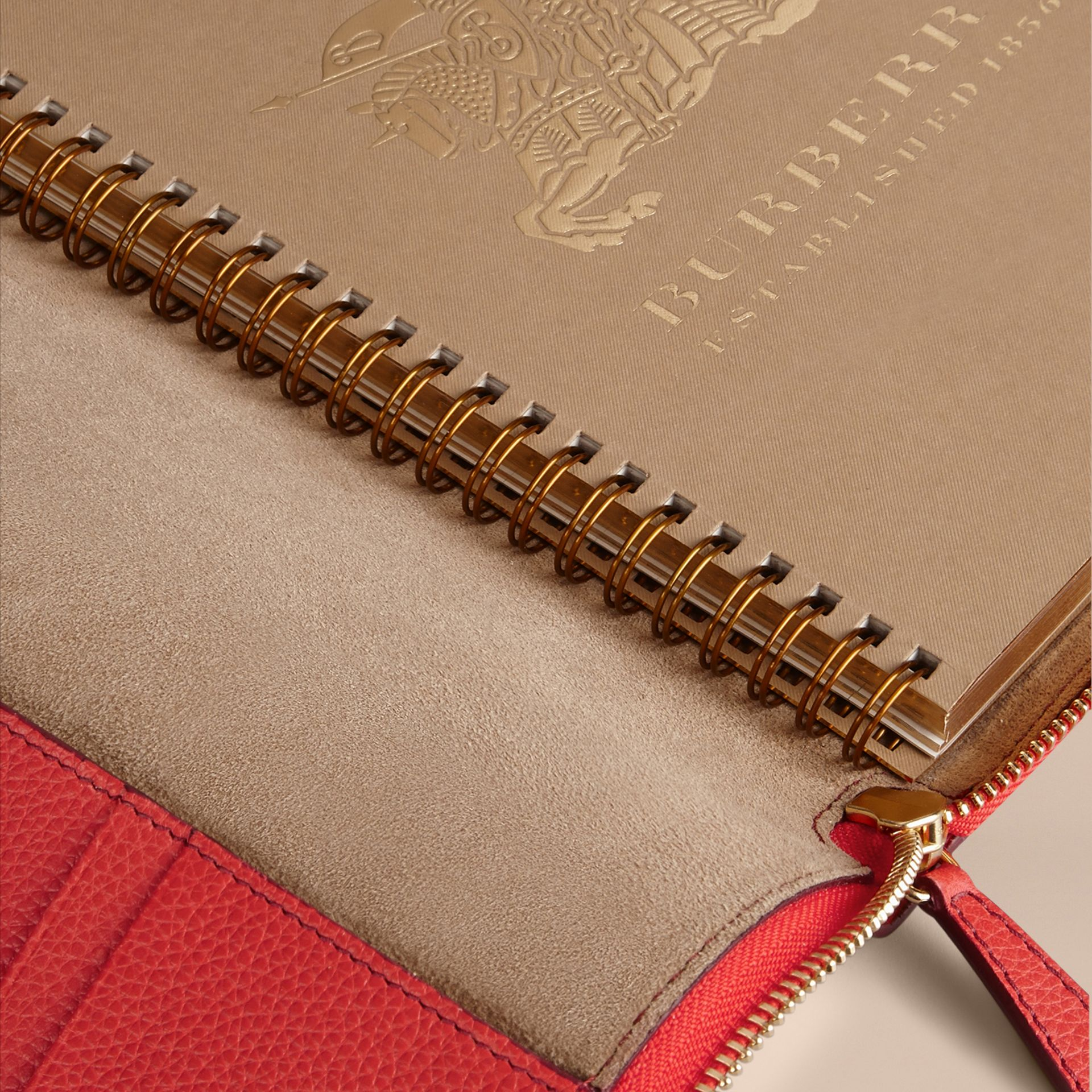 Ziparound Grainy Leather 18 Month 2016/17 A5 Diary in Orange Red | Burberry - gallery image 4