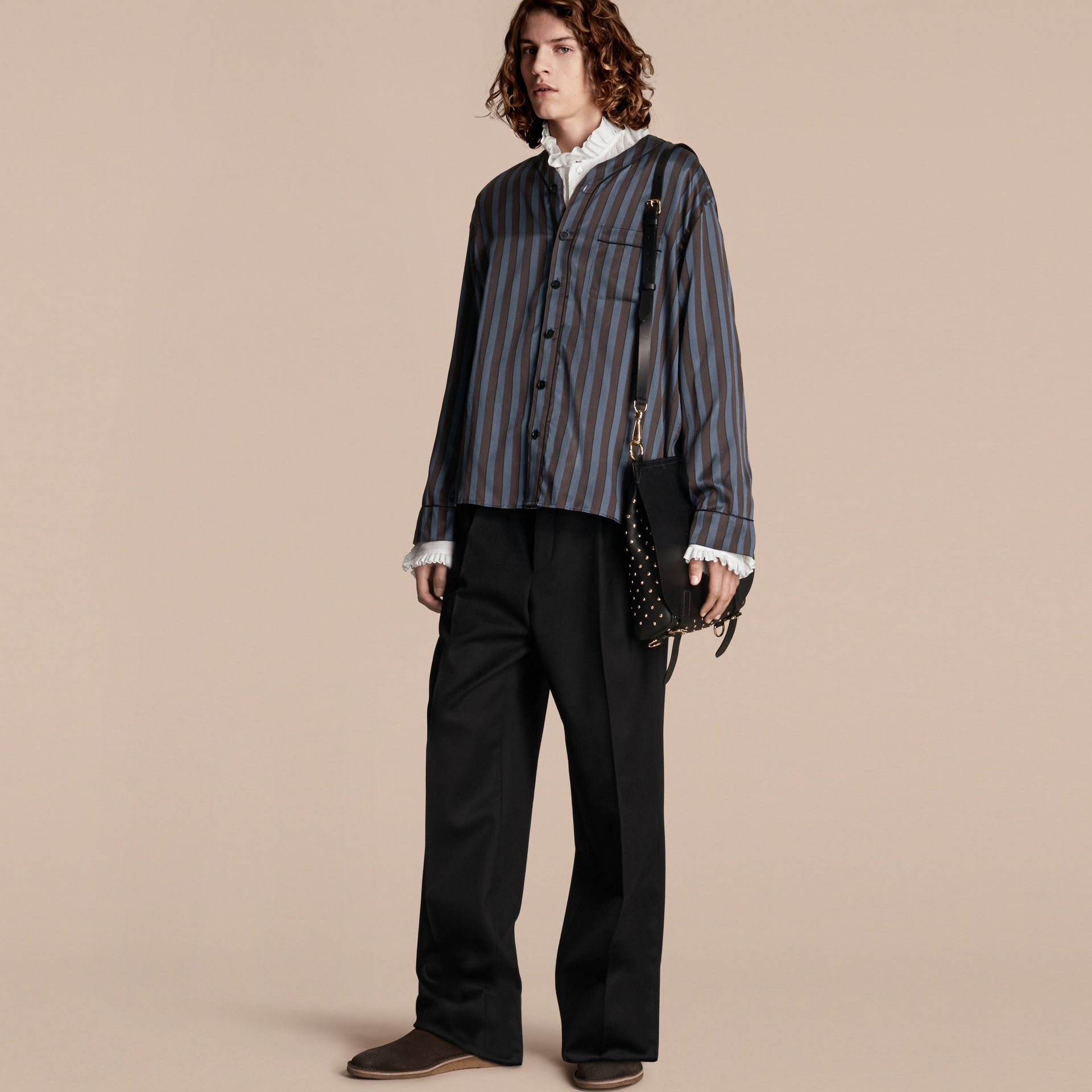 Navy Pyjama Stripe Silk Cotton Collarless Shirt - gallery image 6