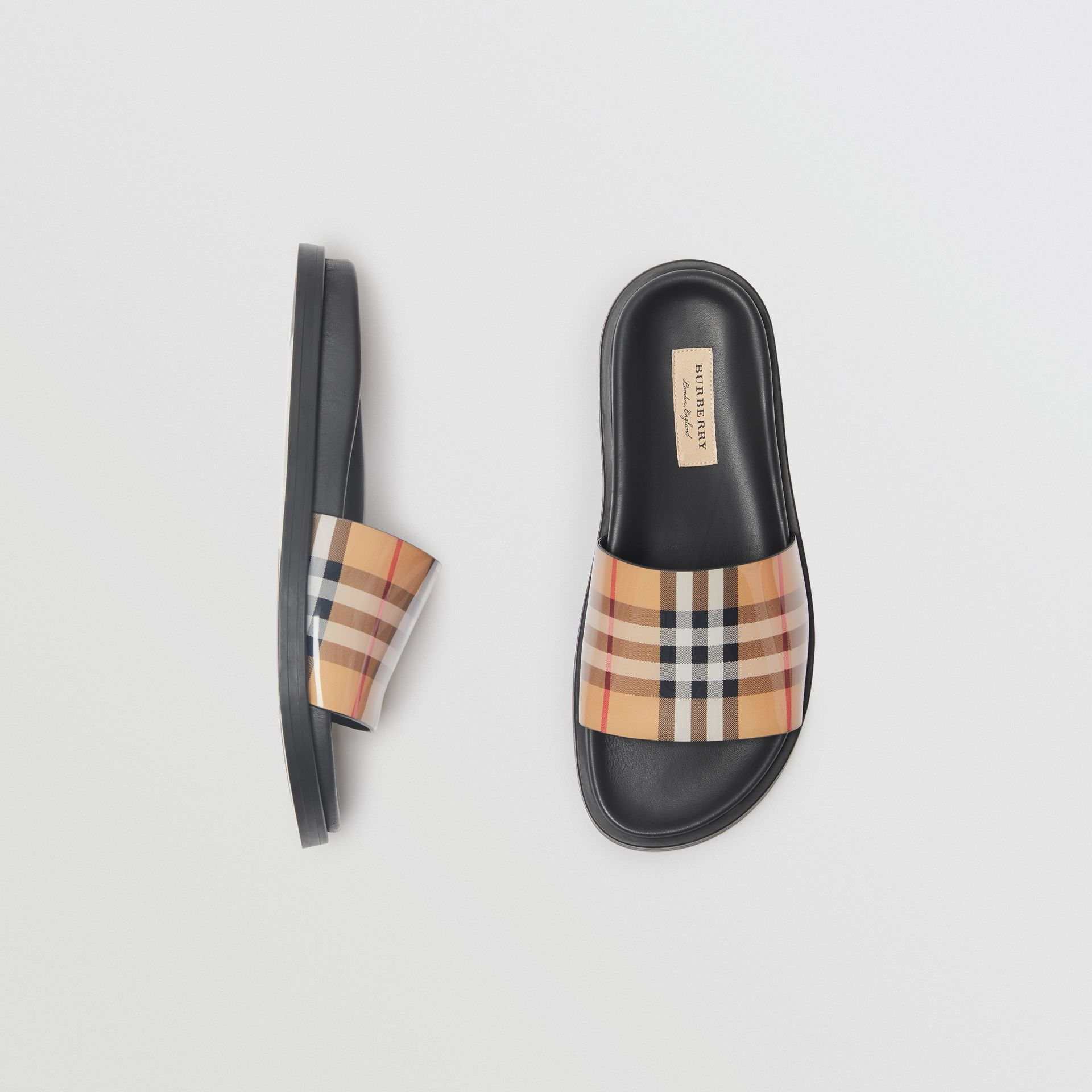 Vintage Check and Leather Slides in Antique Yellow - Women | Burberry United Kingdom - gallery image 0