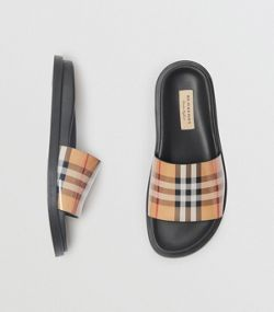5986ac651443b Vintage Check and Leather Slides in Antique Yellow