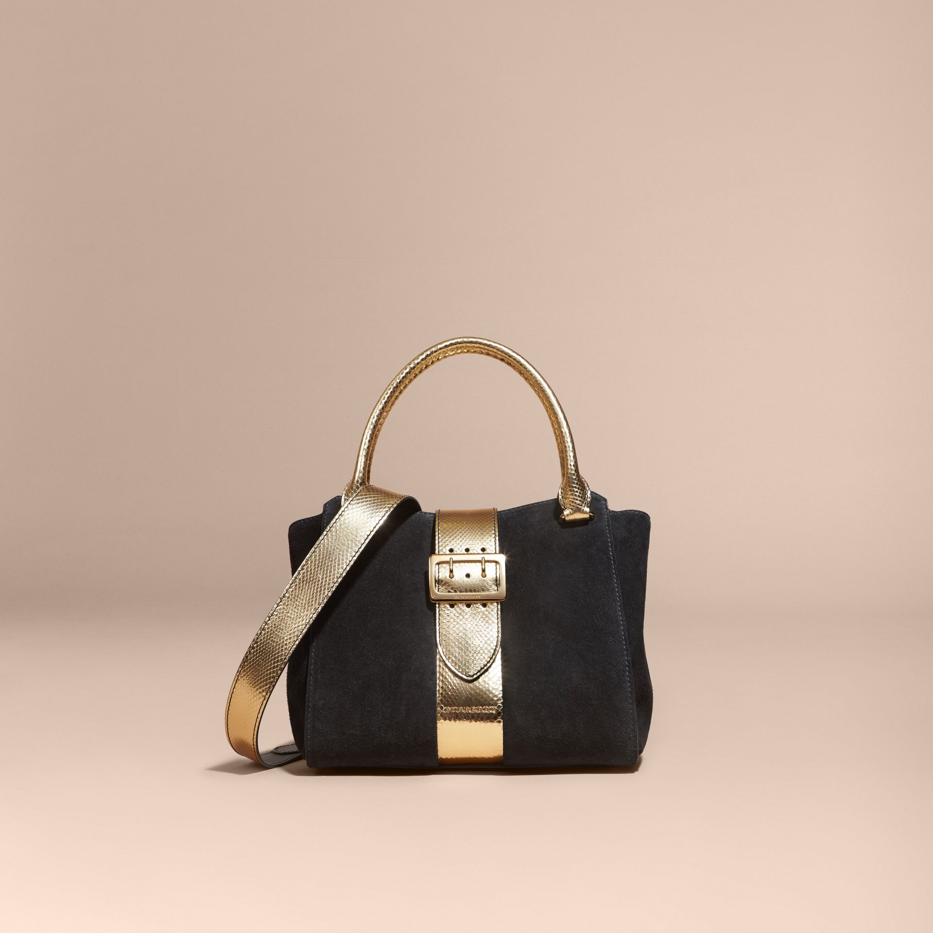 Black/gold The Medium Buckle Tote in Suede and Snakeskin - gallery image 8