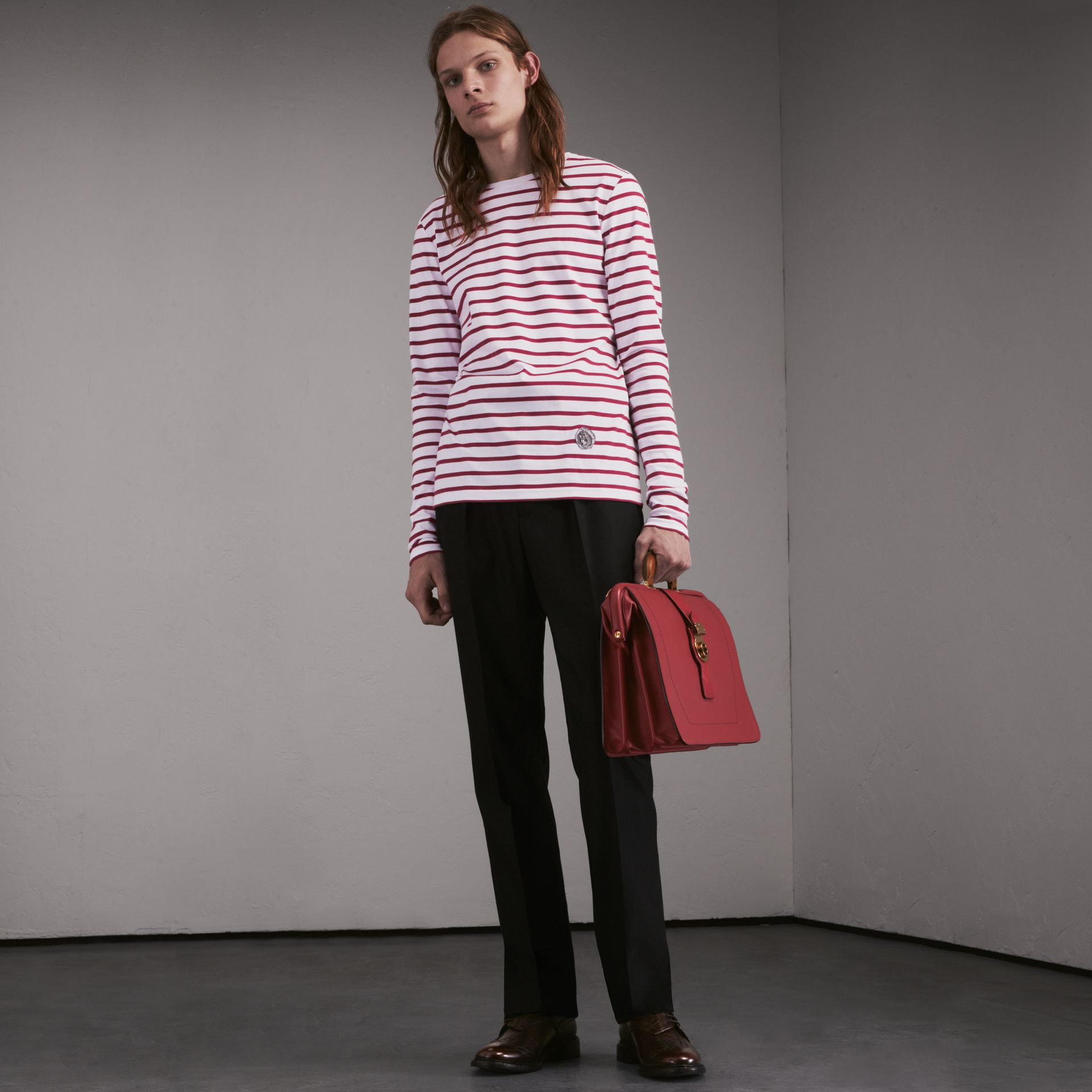 Unisex Pallas Heads Motif Breton Stripe Cotton Top in Parade Red - Men | Burberry - gallery image 6
