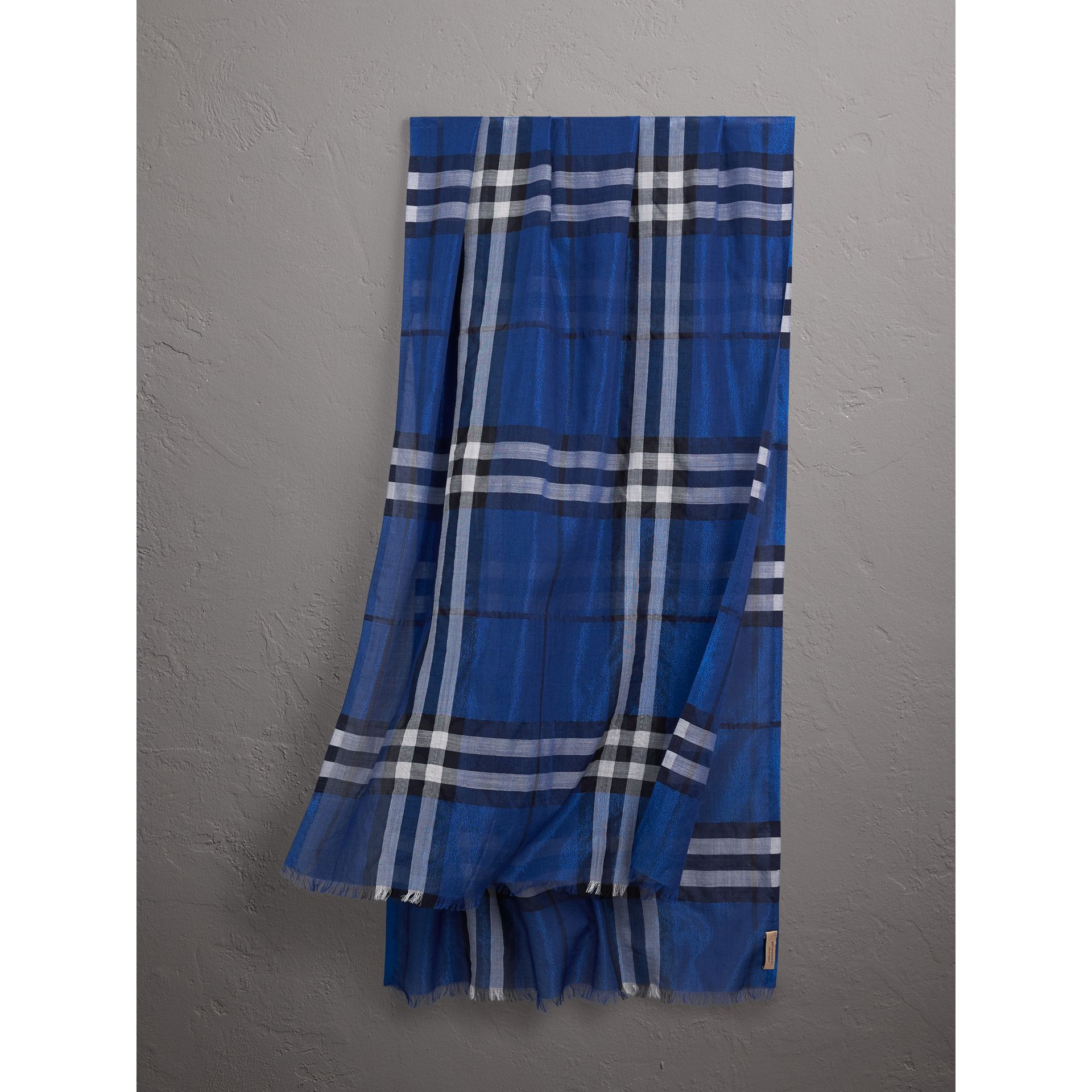 Metallic Check Silk and Wool Scarf in Bright Blue | Burberry Canada - gallery image 0