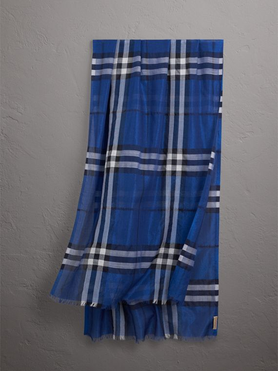 Metallic Check Silk and Wool Scarf in Bright Blue