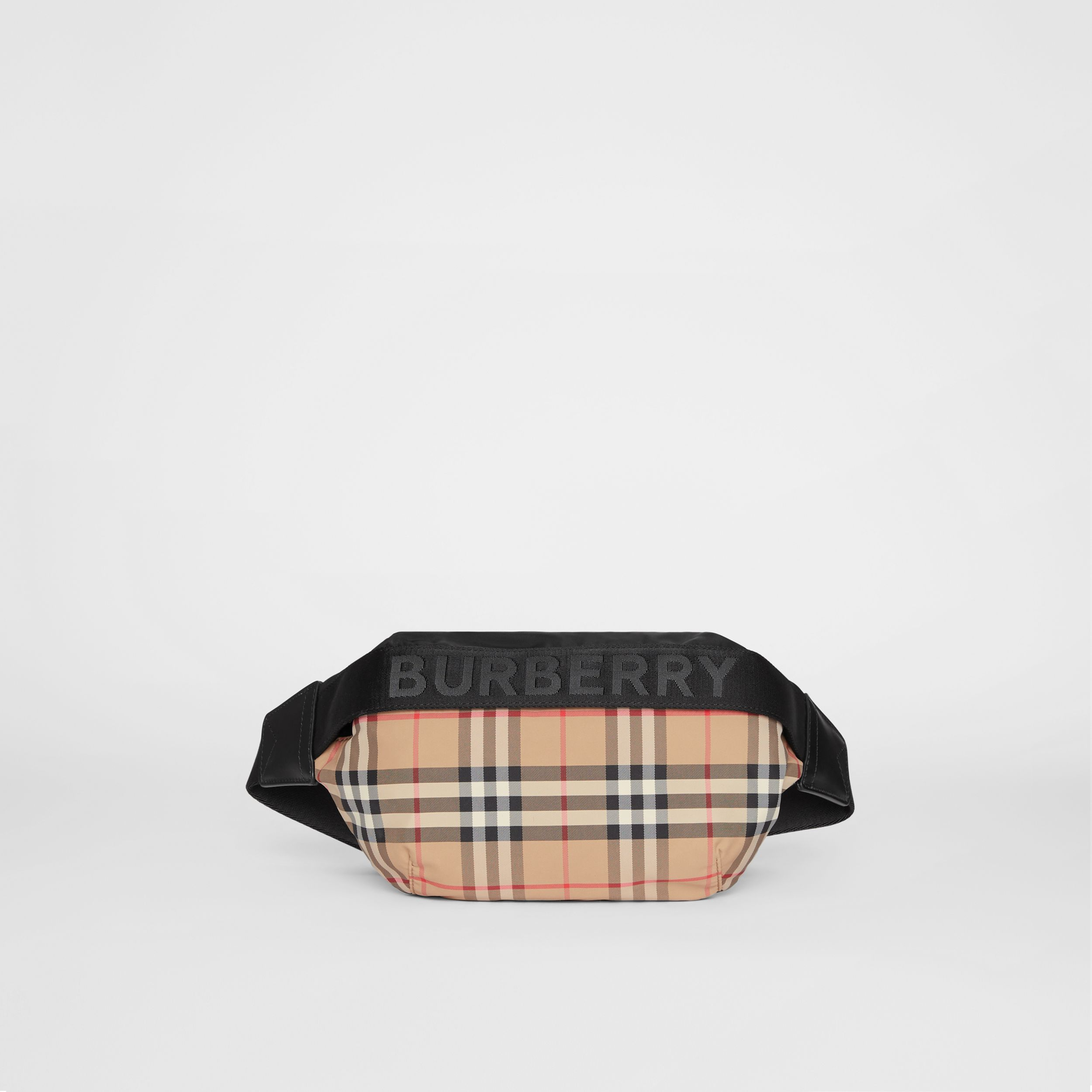 Medium Vintage Check ECONYL® Bum Bag in Archive Beige - Women | Burberry - 1