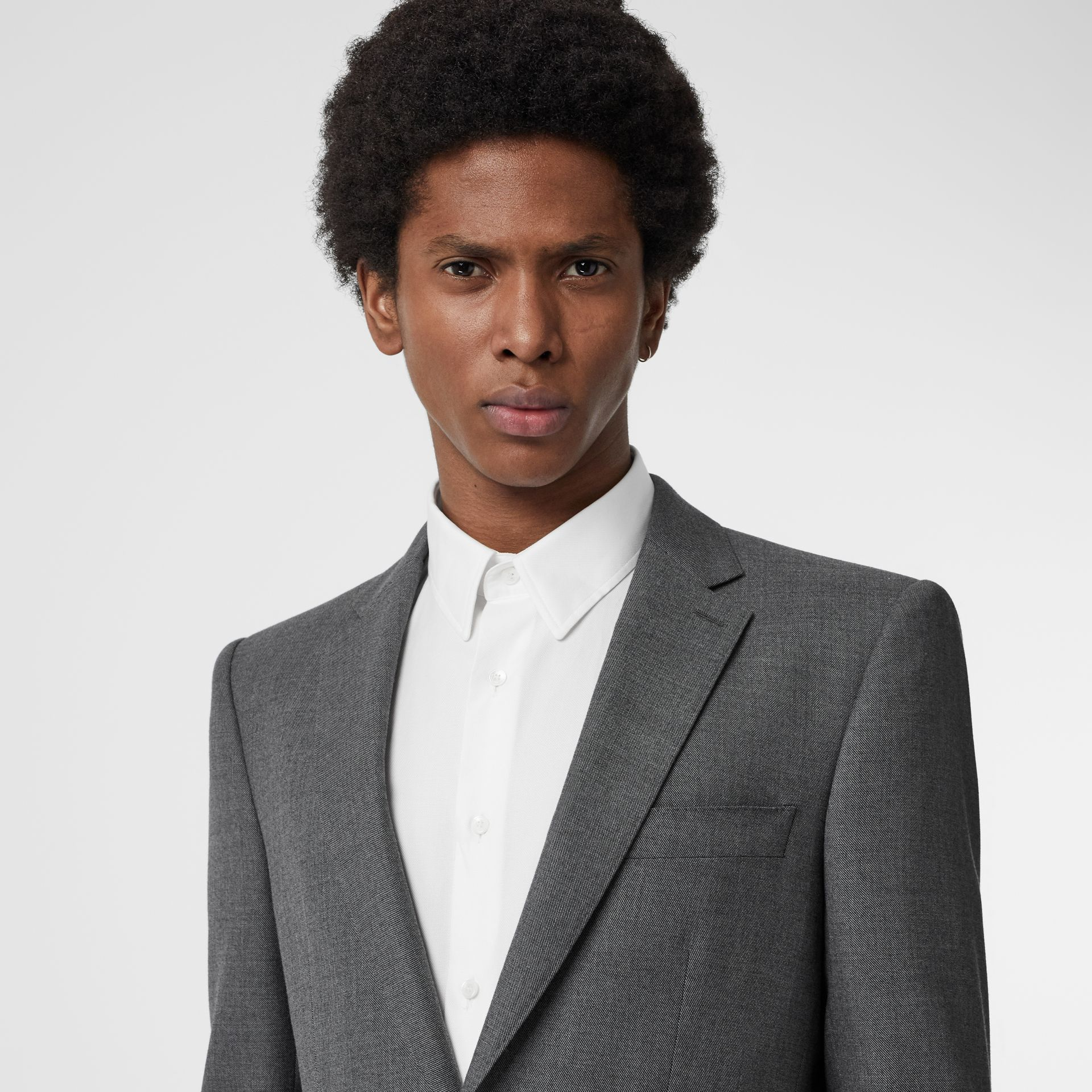 Classic Fit Sharkskin Wool Suit in Mid Grey Melange - Men | Burberry Canada - gallery image 1