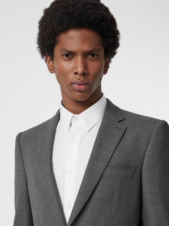 Classic Fit Sharkskin Wool Suit in Mid Grey Melange - Men | Burberry Canada - cell image 1