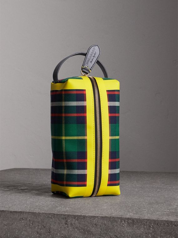 Beauty case in cotone con motivo tartan (Verde Foresta)