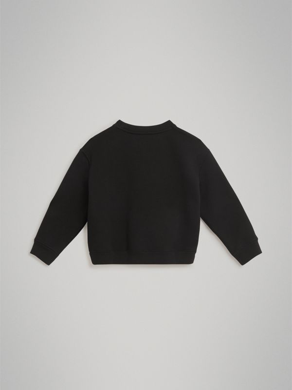 Logo Print Jersey Sweatshirt in Black | Burberry - cell image 3