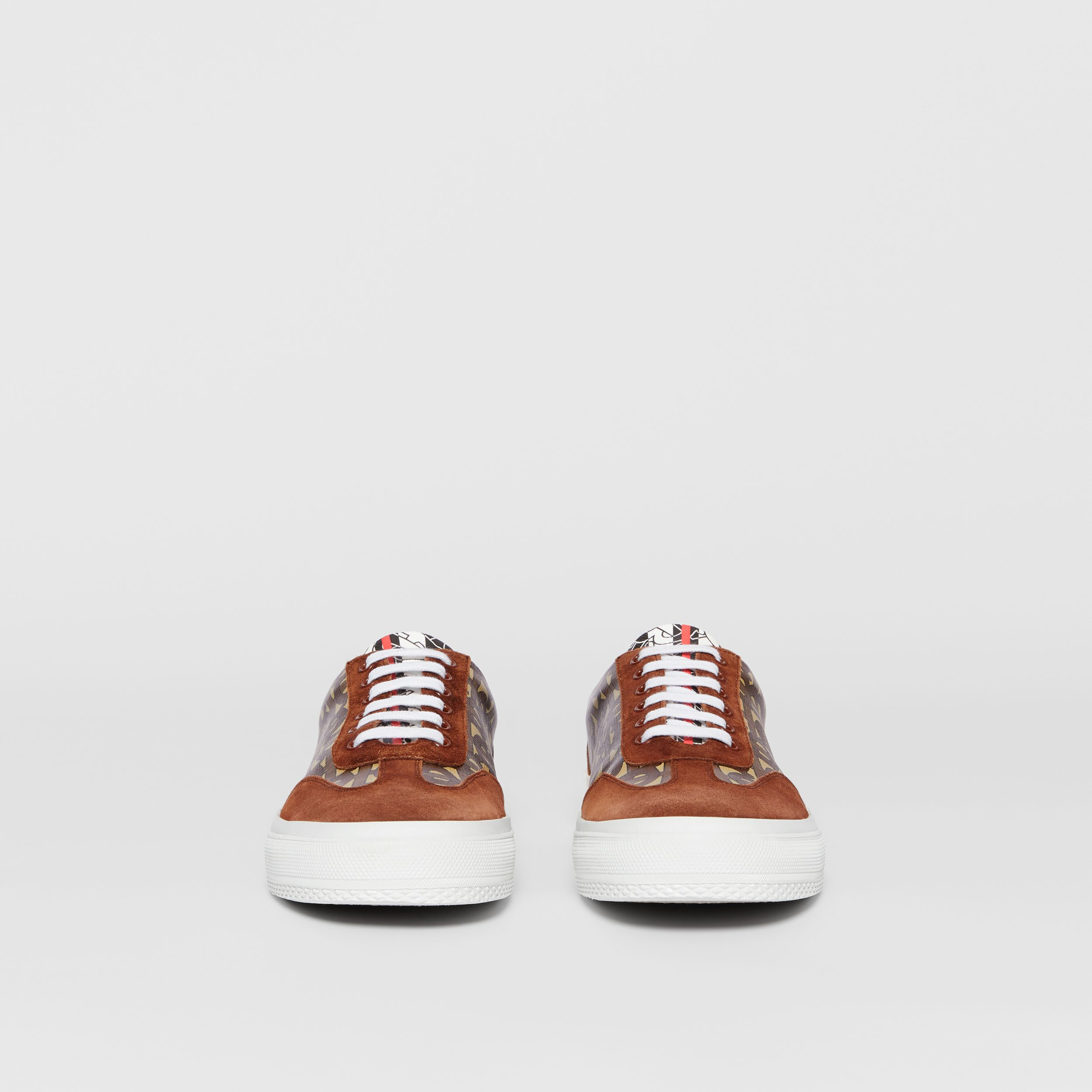 Suede Detail Monogram Stripe Sneakers in Bridle Brown - Men | Burberry - 4