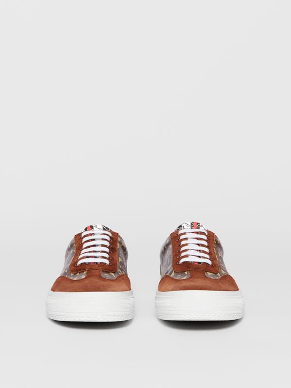 Suede Detail Monogram Stripe Sneakers in Bridle Brown - Men | Burberry - cell image 3
