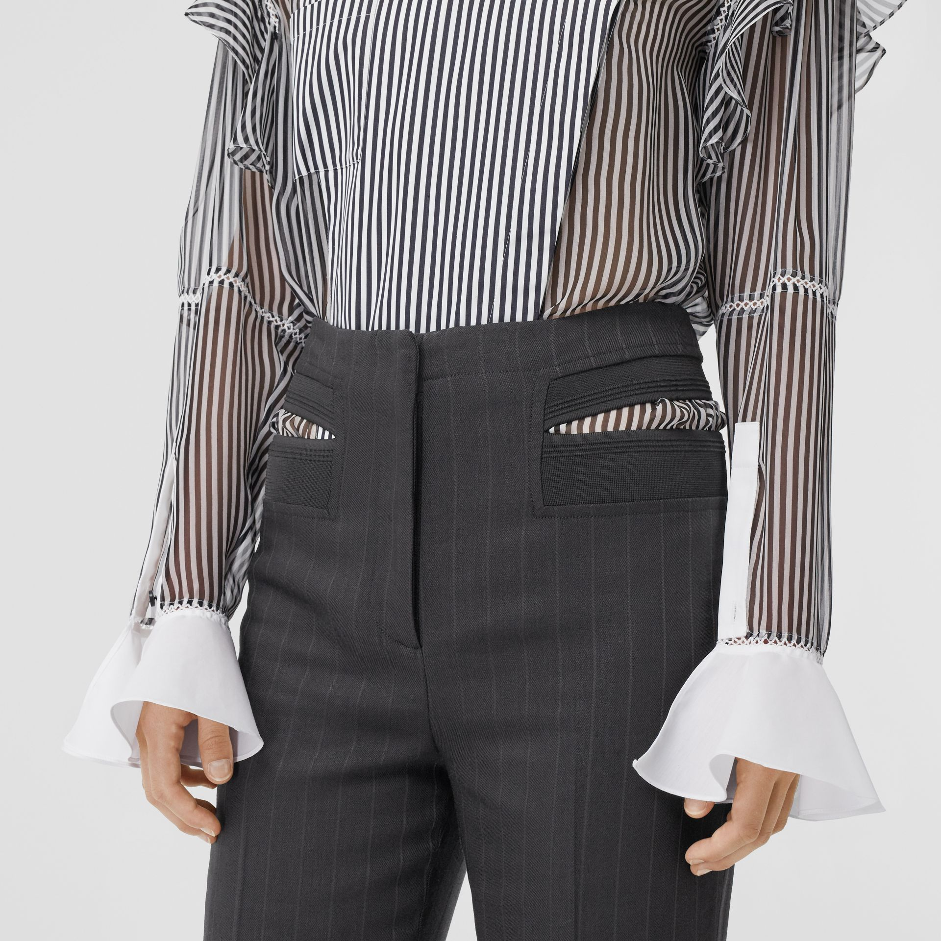 Pinstriped Technical Twill Reconstructed Trousers in Black - Women | Burberry United Kingdom - gallery image 1