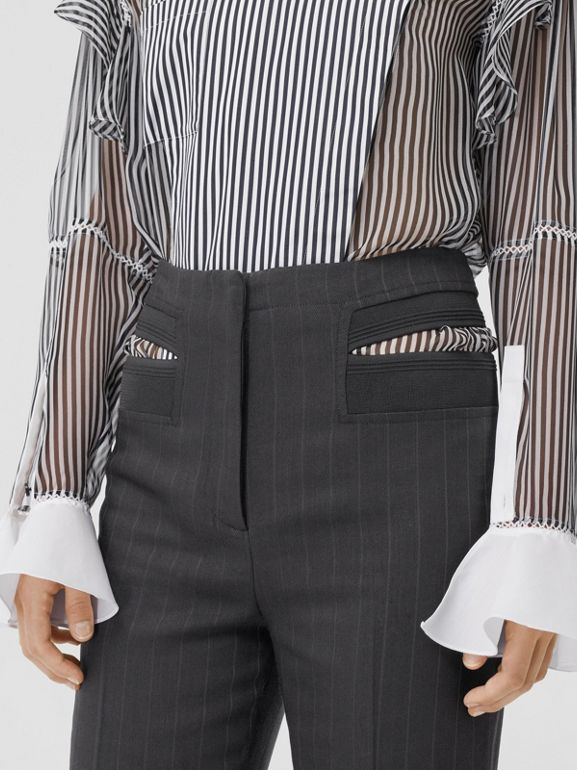 Pinstriped Technical Twill Reconstructed Trousers in Black - Women | Burberry United Kingdom - cell image 1