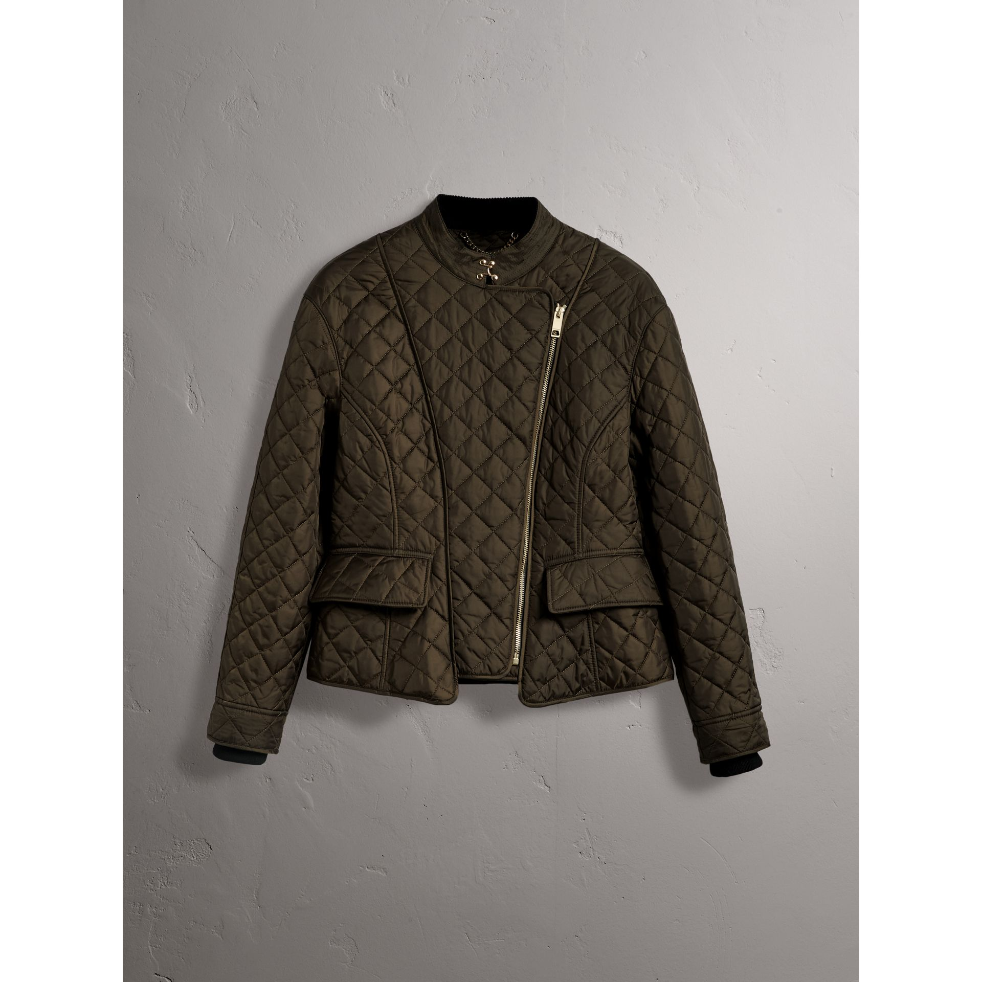 Diamond Quilted Jacket in Dark Olive - Women | Burberry - gallery image 3