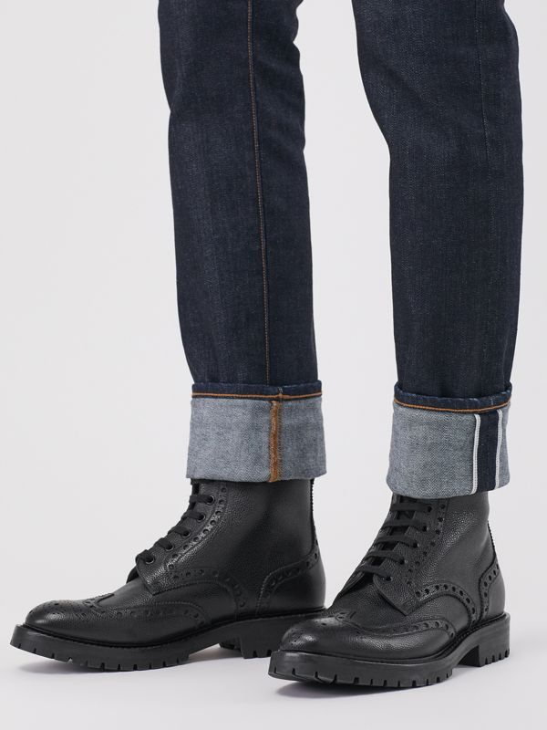 Brogue Detail Grainy Leather Boots in Black - Men | Burberry - cell image 2