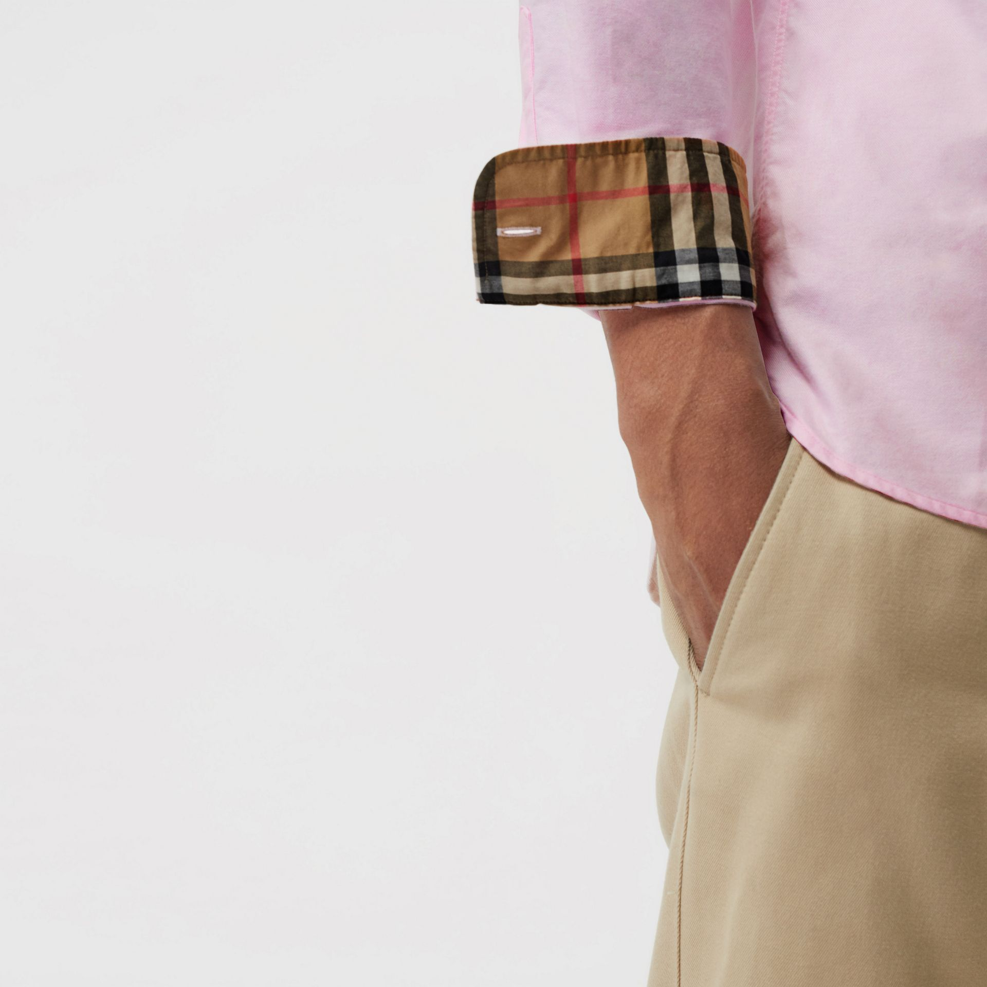 Check Detail Cotton Oxford Shirt in Pale Pink - Men | Burberry - gallery image 1