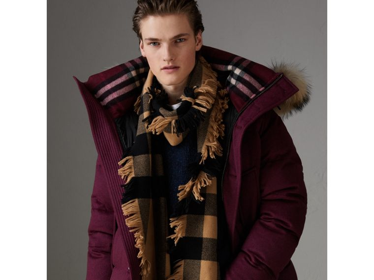 Fringed Check Wool Scarf in Camel | Burberry United Kingdom - cell image 4