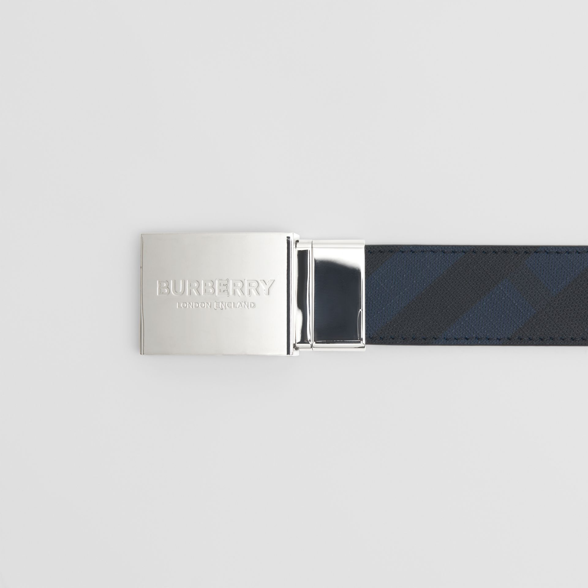 Reversible Plaque Buckle London Check Belt in Navy/black - Men | Burberry - gallery image 1