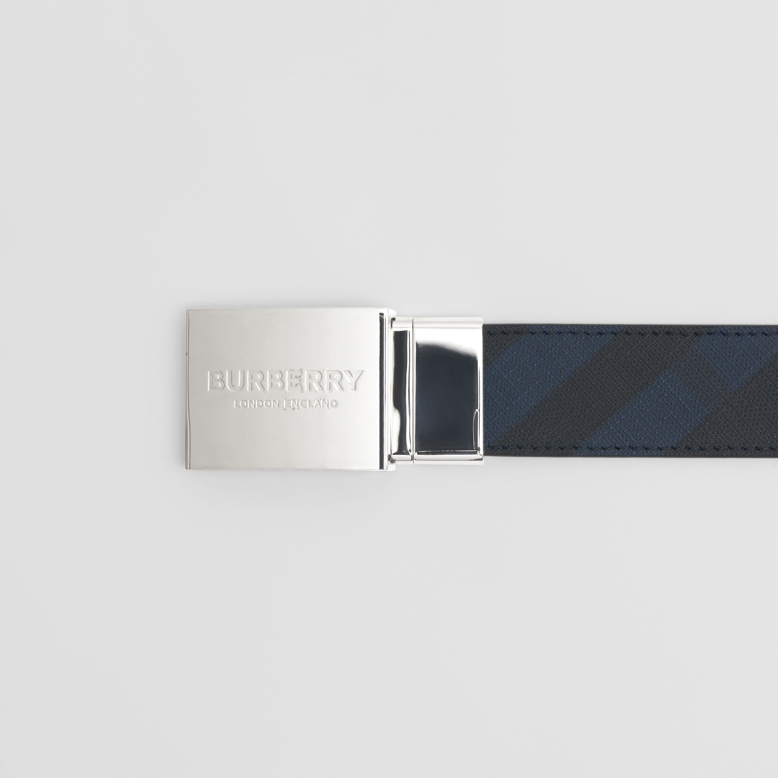 Reversible Plaque Buckle London Check Belt in Navy/black - Men | Burberry - 2