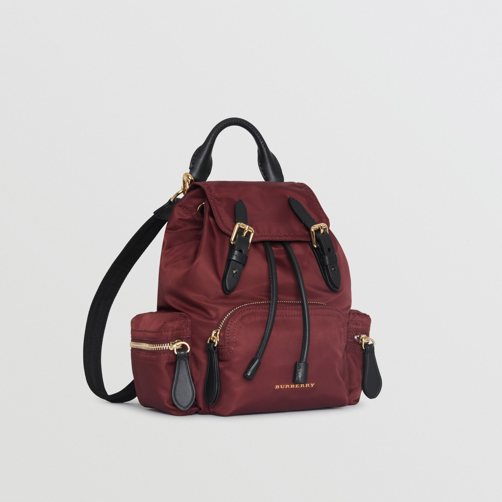 The Small Crossbody Rucksack in Nylon in Burgundy Red - Women | Burberry - gallery image 7