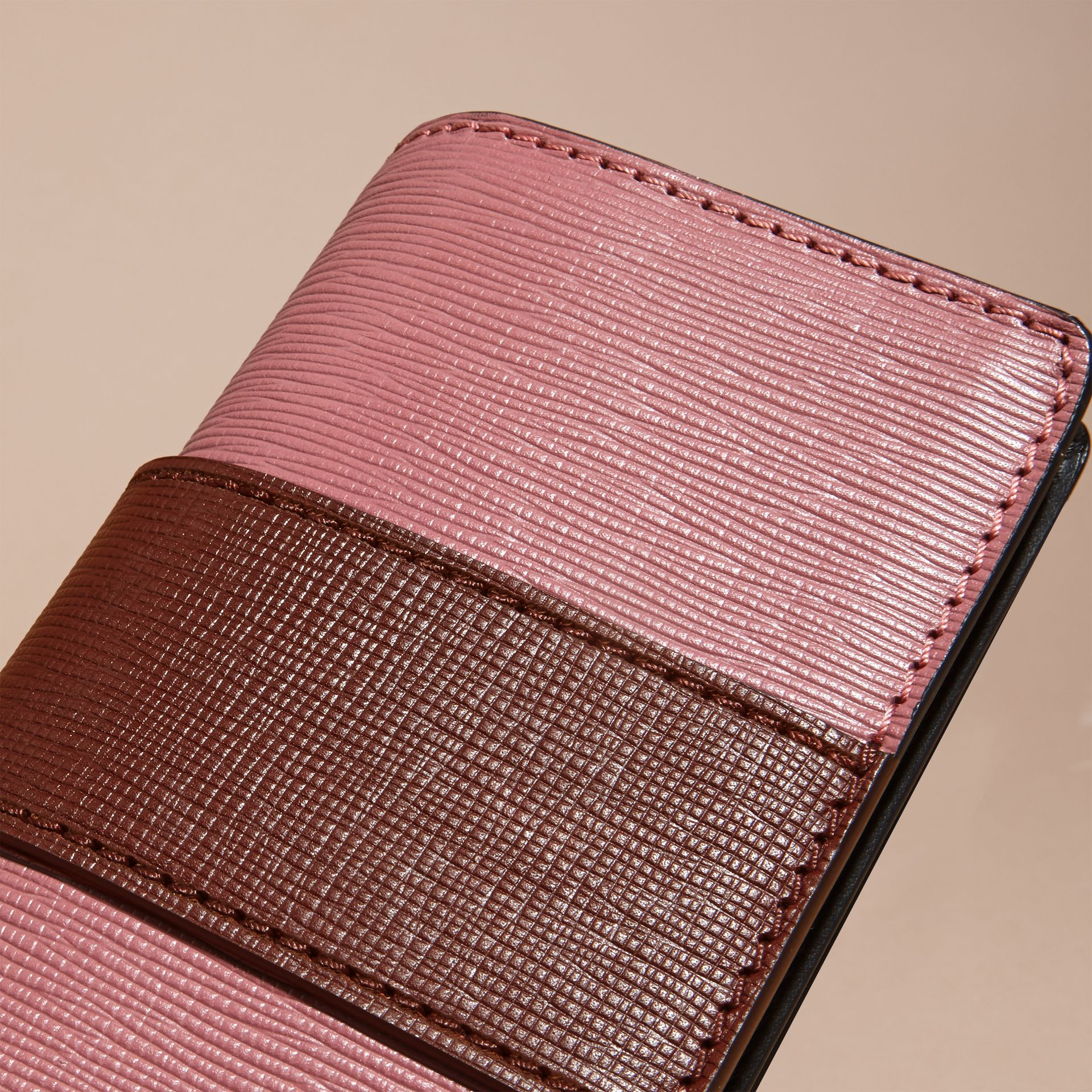 The Small Buckle Bag in Textured Leather Dusky Pink/ Burgundy - gallery image 7
