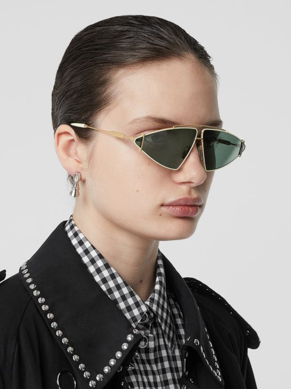 Gold-plated Triangular Frame Sunglasses in Pistachio - Women | Burberry - cell image 2