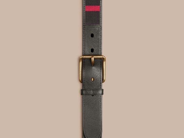Navy Canvas Check and Leather Belt Navy - cell image 1