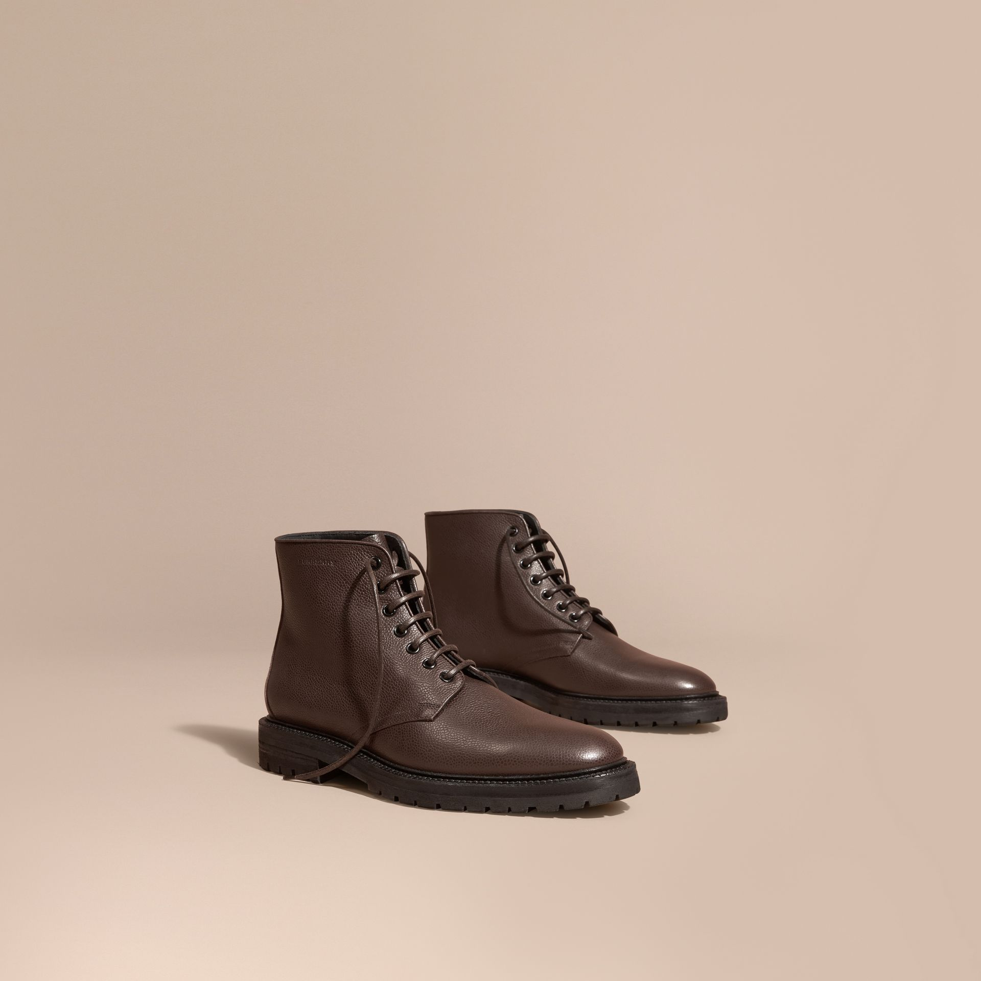 Chestnut Lace-up Grainy Leather Boots Chestnut - gallery image 1