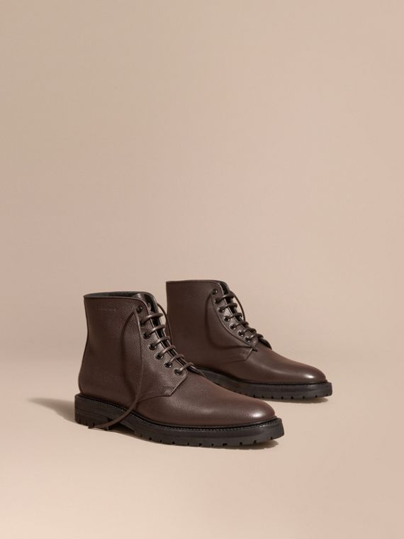 Lace-up Grainy Leather Boots Chestnut