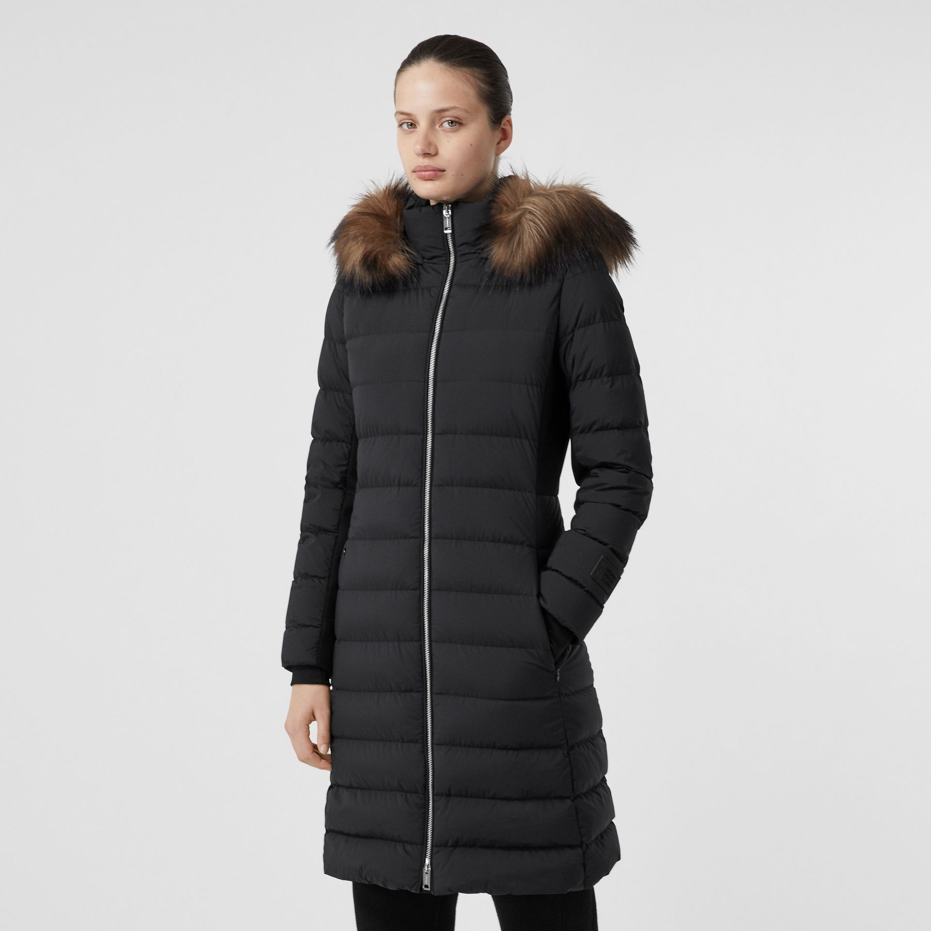 Detachable Faux Fur Trim Hooded Puffer Coat in Black - Women | Burberry - gallery image 4