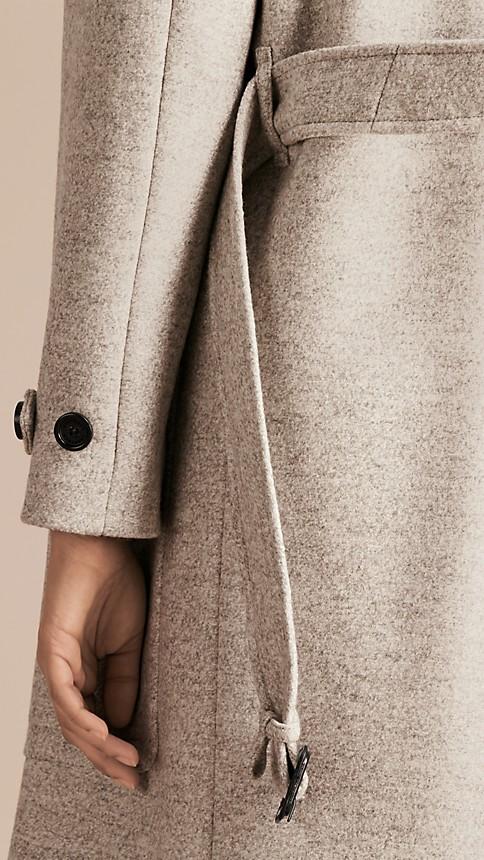 Pale grey melange Wool Belted Wrap Coat - Image 3