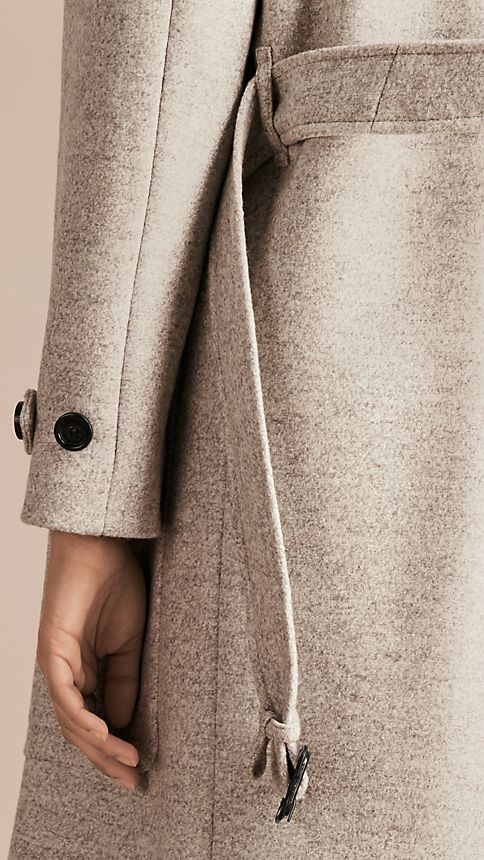 Pale grey melange Wool Belted Wrap Coat - Image 7